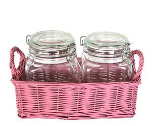 Set de 2 tarros herméticos y cesta de mimbre - rosa