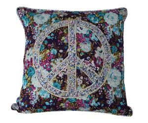 Funda de Cojín de algodón Paz – turquesa y lila