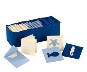 Caja con 48 tarjetas marineras en papel maché – azul marino y blanco marfil