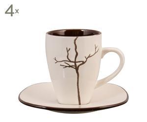 Juego de café en cerámica Moon – beige y marrón