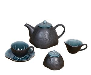 Juego de café en cerámica Chamberí – negro y verde