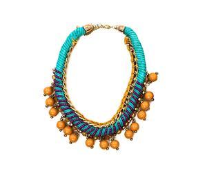 Collar ajustado con cordón grueso - turquesa y naranja