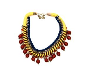 Collar ajustado con cordón grueso - amarillo y rojo