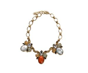 Collar ajustado en resina y cristal - naranja