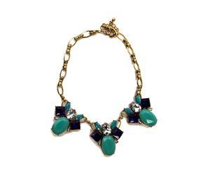 Collar ajustado en resina y cristal - verde esmeralda en