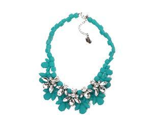 Collar ajustado en resina y piedras de cristal Flor - turquesa