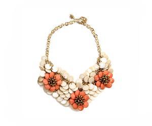 Collar babero en resinas circulares - beige y naranja