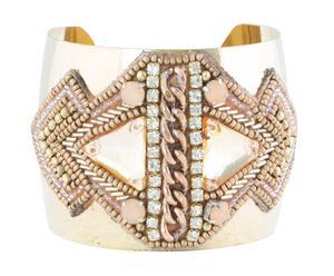 Brazalete en metal con detalles de cristal y piedras – oro y marfil