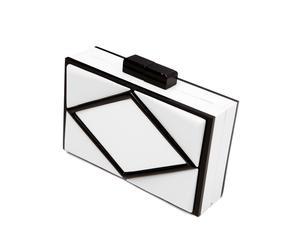 Clutch rígido geometric – blanco y negro