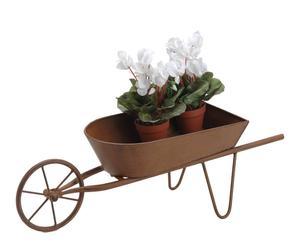 Carretilla porta tiestos en metal – marrón