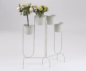 Porta macetas de metal para 4 plantas – blanco