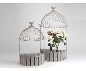 Set de 2 jardineras en hierro – gris