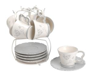 Juego de café en dolomita con soporte de metal