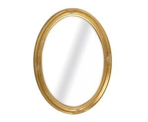 Espejo oval con marco de madera de paulownia, dorado - grande