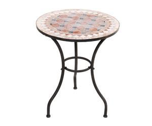 Mesa auxiliar de forja y mosaico – negro