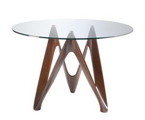 Mesa de comedor en cristal y fibra de vidrio I - nogal