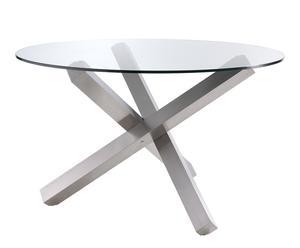 Mesa redonda de comedor en cristal y acero pulido II