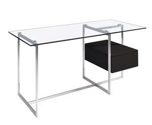 Mesa de oficina en acero, cristal templado y cajón en DM - negro
