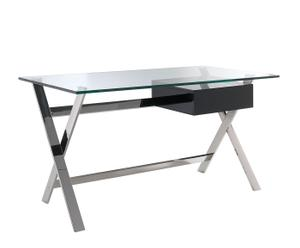 Mesa de oficina en cristal templado y acero inox II