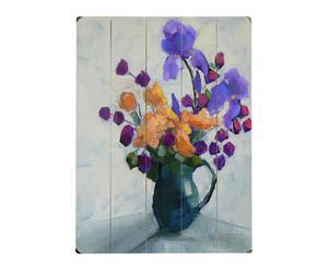 Cartel en madera de abedul Flores de Primavera