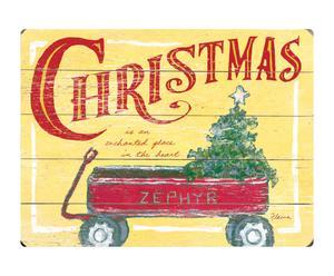 Cuadro en madera de abedul Christmas wagon - 35,6x50,8cm