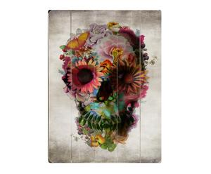 Cuadro en madera de abedul Floral skull - 35,6x50,8cm