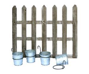 Set de valla de madera con 4 cubos de zinc - pequeña