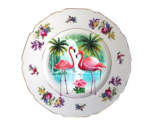Plato decorativo en porcelana antigua Flamingos
