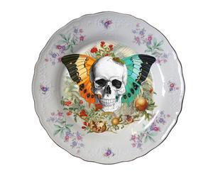 Plato decorativo en porcelana antigua Skull n'wings