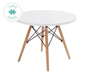 Mesa infantil en chapa de madera y haya – blanco y natural