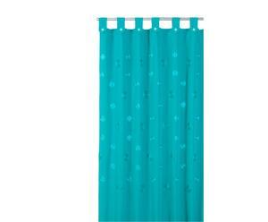 Cortina de baño de algodón y poliéster Camelia, turquesa – 180x200 cm
