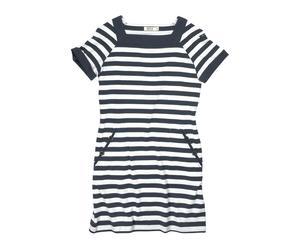 Vestido de rayas en algodón 100%, blanco y azul marino – T44
