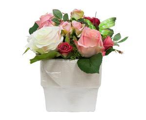 Maceta de cerámica con rosas artificiales I