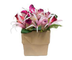 Maceta de cerámica con rosas artificiales II