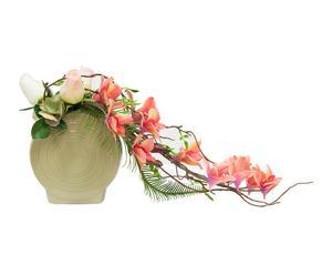 Planta dendrobium y rosas artificial con maceta