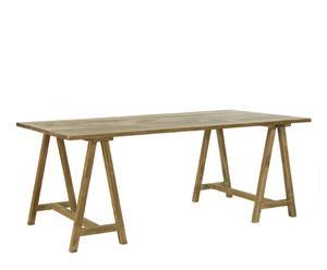 Mesa de comedor con caballetes en madera de mango