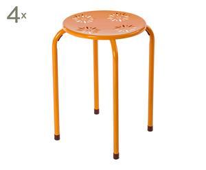 Set de 4 taburetes de metal Flor – naranja