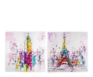 Set de 2 pinturas al óleo sobre madera Village I