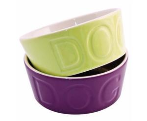 set de 2 Alimentadores para perro de acero inoxidable II – verde y morado