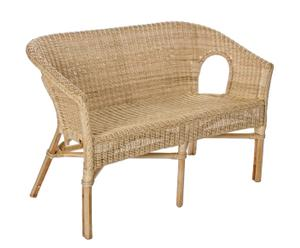 Sofá de mimbre con cojines – natural y blanco