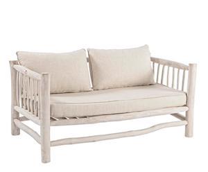 Sofá en teca blanqueada con cojines Sahel – natural y blanco