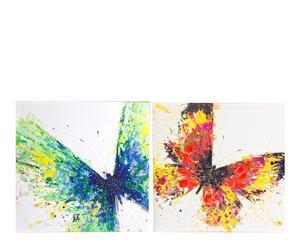 Set de 2 pinturas al óleo sobre madera Mariposas