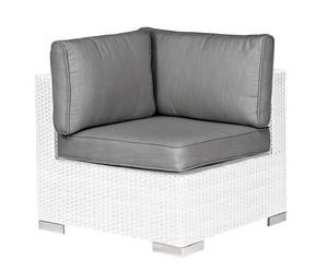 Sillón esquinero n aluminio y polyrattan con cojines Twenty – blanco y gris