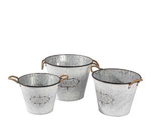 Set de 3 maceteros en hierro galvanizado – gris