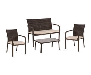 Conjunto de salón de exterior Trilly, marrón café – 4 piezas