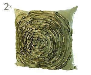 Set de 2 cojines Rosa, verde – 40x40