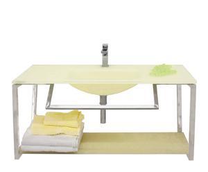 Mueble de baño en acero satinado Hortensia – amarillo pastel