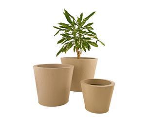 Set de 3 macetas de cerámica - crema