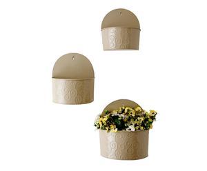 Set de 3 macetas de pared en latón - beige
