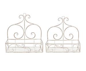 Set de 2 macetas de pared en hierro Emily -blanco